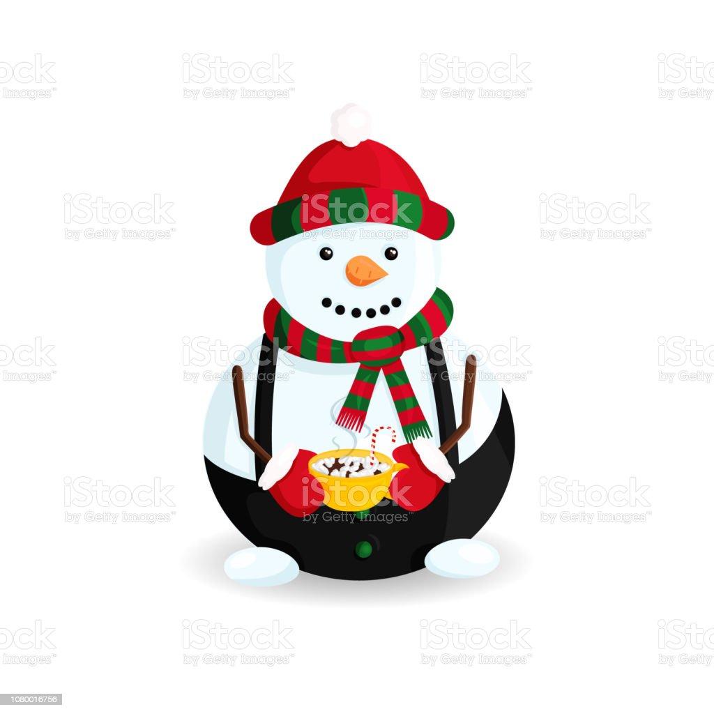 Ilustración de vector de muñeco de nieve sombrero de rayas y bufanda con Chocolate caliente y bastón de caramelo - ilustración de arte vectorial