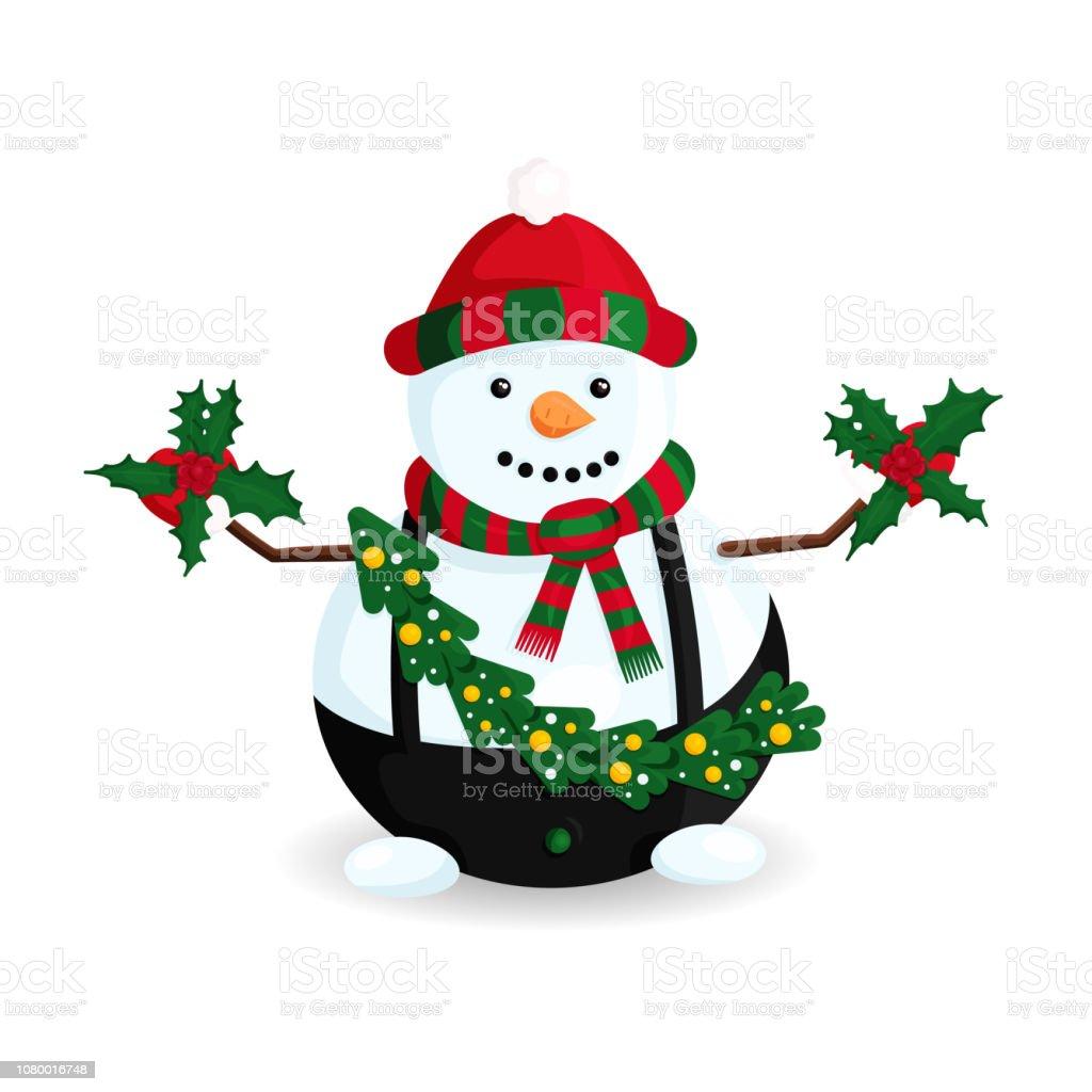 Ilustración de vector de muñeco de nieve sombrero de rayas y bufanda con árbol de Navidad y la guirnalda - ilustración de arte vectorial