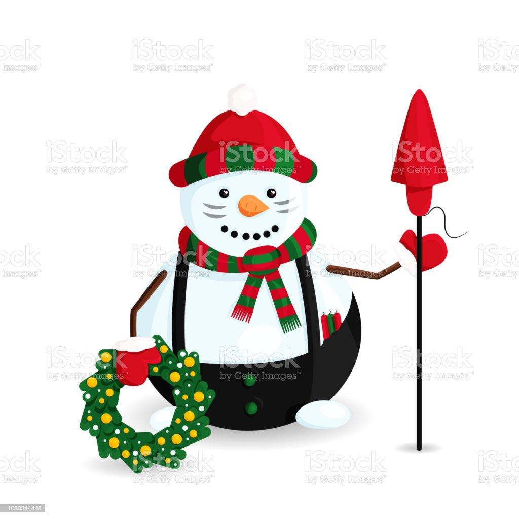 Vector ilustración de muñeco de nieve es como un caballero con la guirnalda de la Navidad, Cundles y Petard - ilustración de arte vectorial