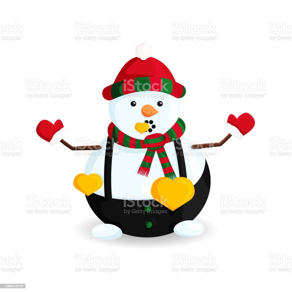Ilustración de vector de muñeco de nieve con corazones oro en sombrero de rayas y bufanda - ilustración de arte vectorial