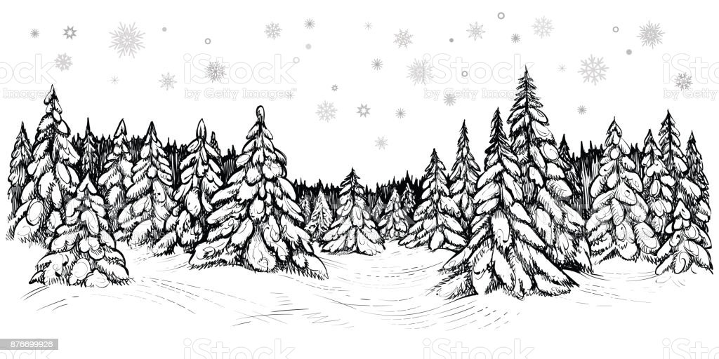 Vector Illustration Of Snowy Firs Winter Forest Covered ...