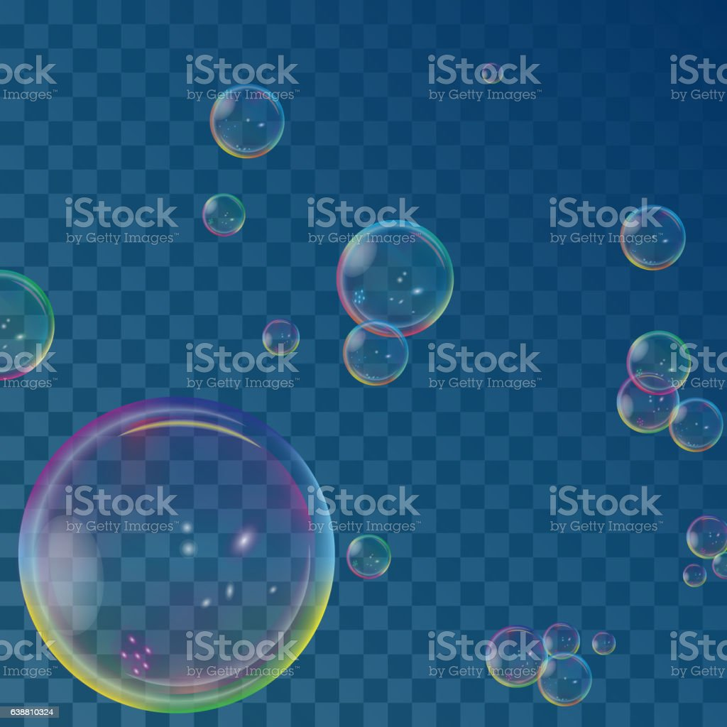 Vector illustration of soap bubbles on transparent background. vector art illustration