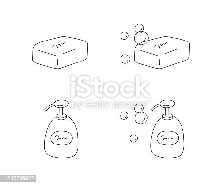 vector illustration of soap with bubble.