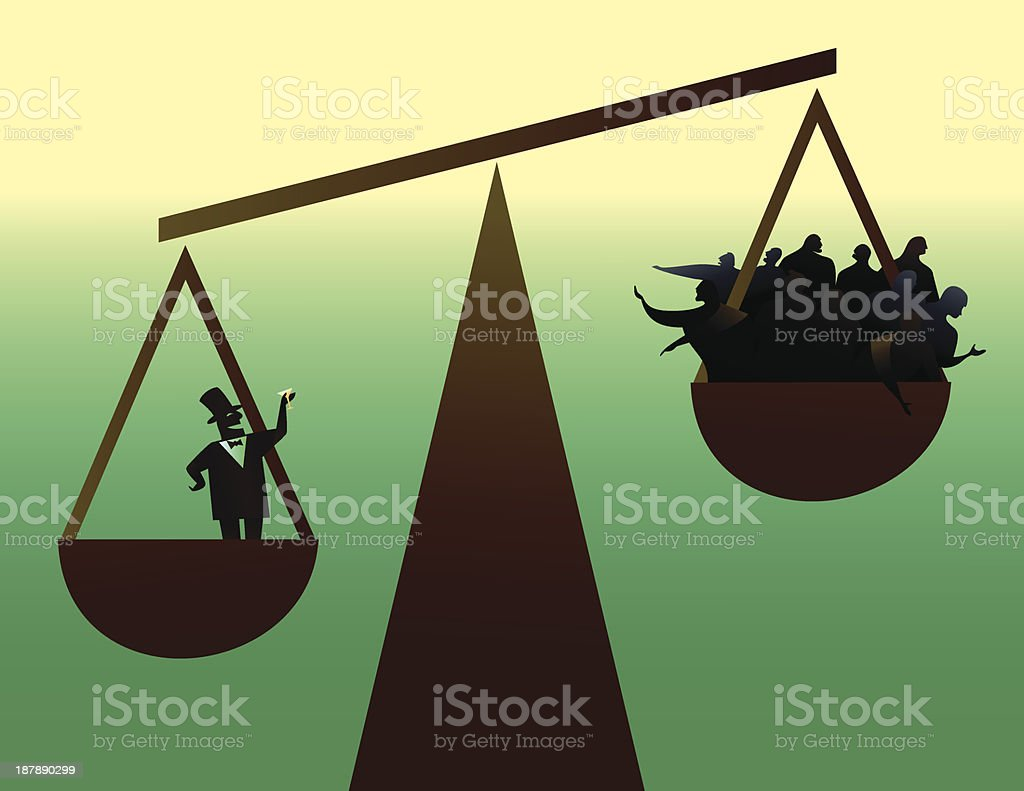 Vector illustration of social disparity vector art illustration