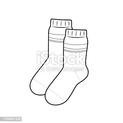 Vector illustration of socks isolated on white background for kids coloring book.