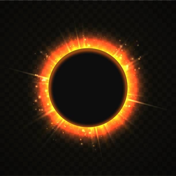 Vector illustration of solar Eclipse template. Blackhole and explosion sunny rays on transparent background. Sun blackout vector art illustration
