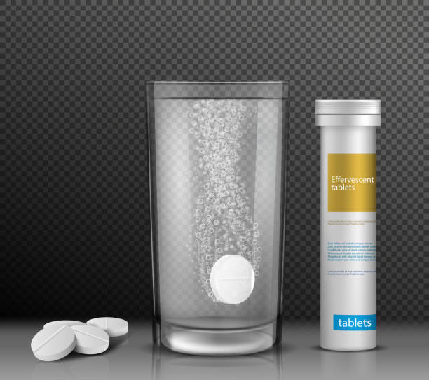 Vector illustration of soluble round tablets in a glass of water and a container for them. Vector illustration of soluble round tablets in a glass of water and lying side by side and a white cylindrical container covered with a lid for them, isolated on a transparent background. aspirin stock illustrations