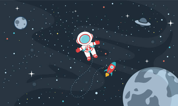 vector illustration of space background - space background stock illustrations