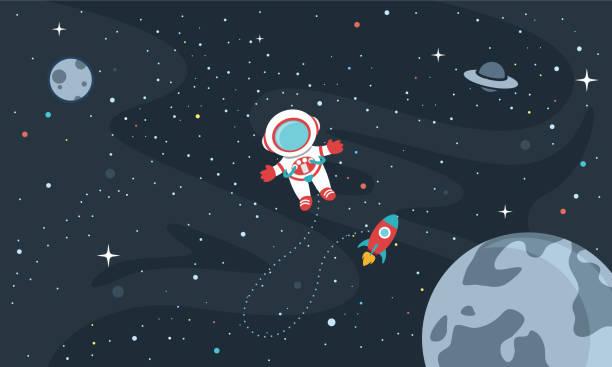 stockillustraties, clipart, cartoons en iconen met vector illustratie van de ruimte achtergrond - raket ruimteschip