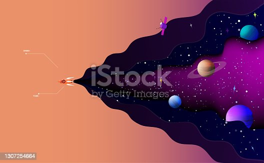 istock Vector illustration of space exploration.The spaceship sails alone in the starry universe. 1307254664