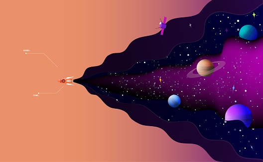 Vector illustration of space exploration.The spaceship sails alone in the starry universe.