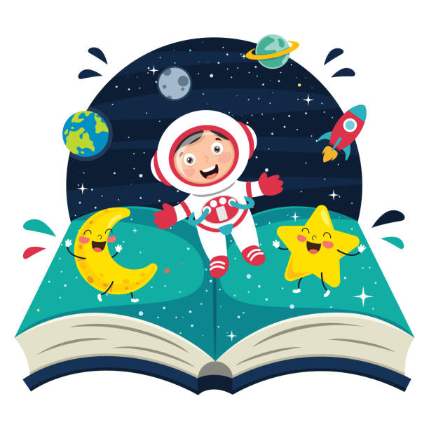 vector illustration of spaceman - space background stock illustrations
