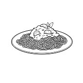 Vector illustration of spaghetti isolated on white background for kids coloring activity worksheet/workbook.
