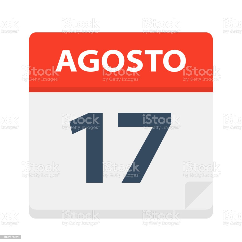 Agosto 17 - Calendar Icon - August 17. Vector illustration of Spanish Calendar Leaf vector art illustration