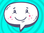 Vector illustration of speech bubble with icon of smile
