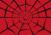 Vector illustration of spider-man web background image on red background