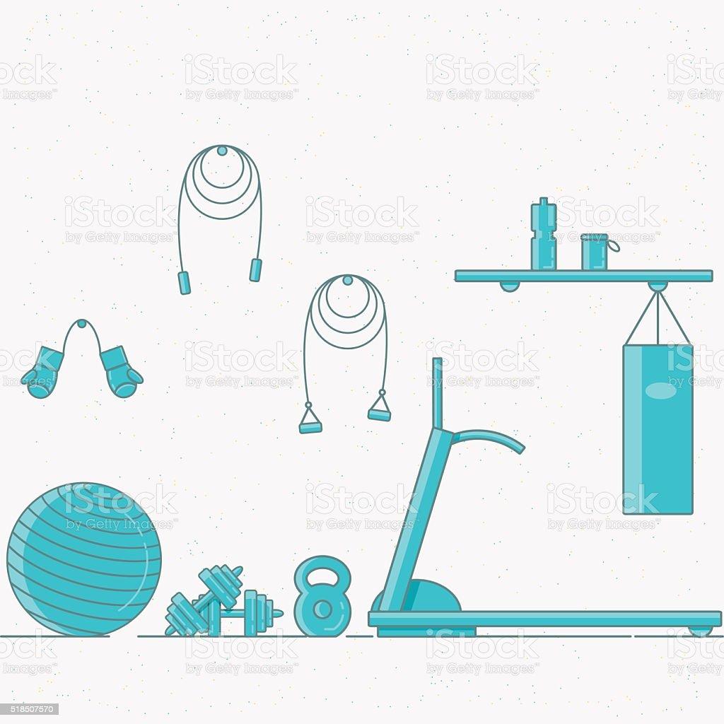Vector illustration of sport gym interior. vector art illustration