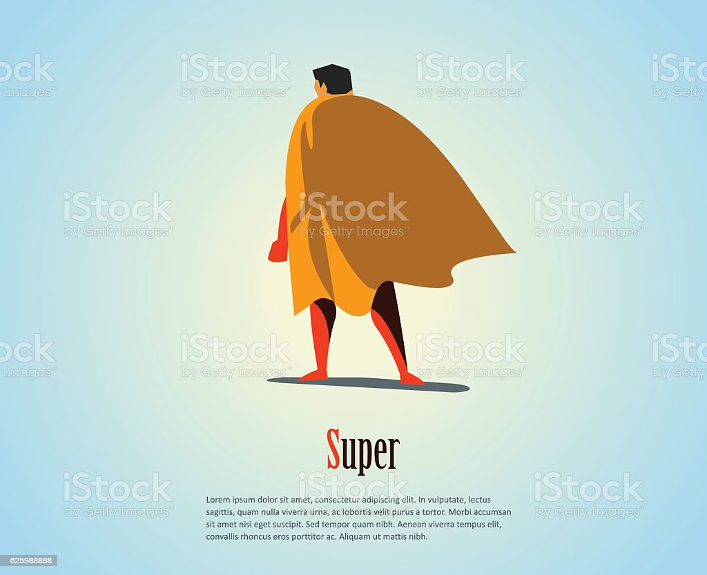 Vector illustration of standing superhero, business power icon. vector art illustration
