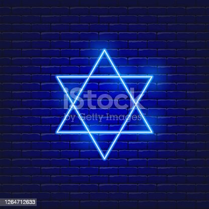 Vector illustration of star of David neon icon. Concept Holiday Rosh Hashanah. Jewish New Year sign.