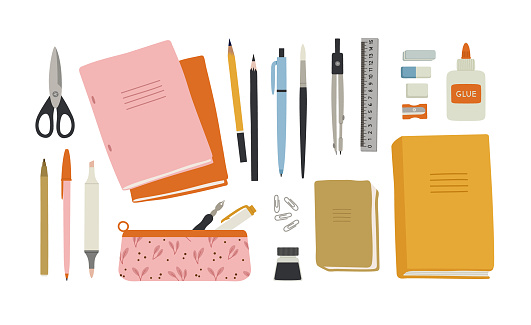 Vector illustration of stationery, office.