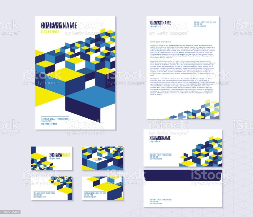 Vektorillustration Von Briefpapier Mit Blatt Visitenkarten