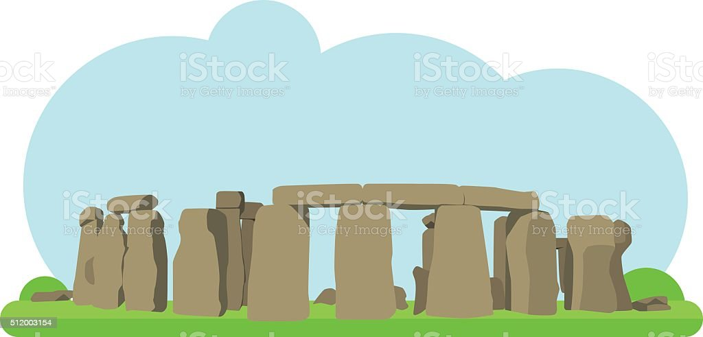 Vector illustration of Stonehenge in flat style vector art illustration