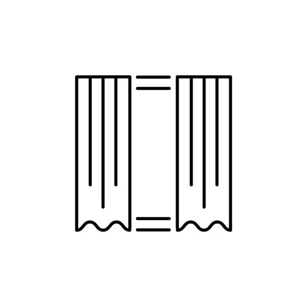 vektor-illustration von geraden stoffvorhang. liniensymbol der fenster drapieren. isoliert auf weißem hintergrund - stoffrollos stock-grafiken, -clipart, -cartoons und -symbole