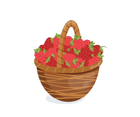 Vector illustration of strawberries in a basket.