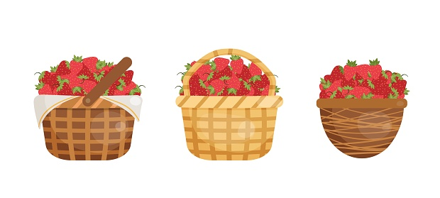 Vector illustration of strawberries in the baskets.