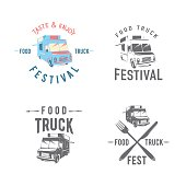 Vector illustration of street food truck graphic badge set. Food old logo design. Foodstuffs background printable. Vintage kitchen print element with fork and knife, text and truck