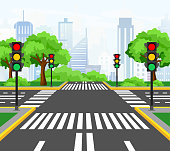 Vector illustration of streets crossing in modern city, city crossroad with traffic lights, markings, trees and sidewalk for pedestrians. Beautiful cityscape on background