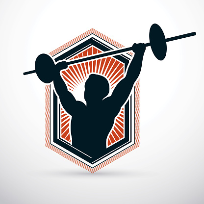 Vector illustration of strong man body silhouette holding barbell. Weight lifting trainer, bodybuilding championship.