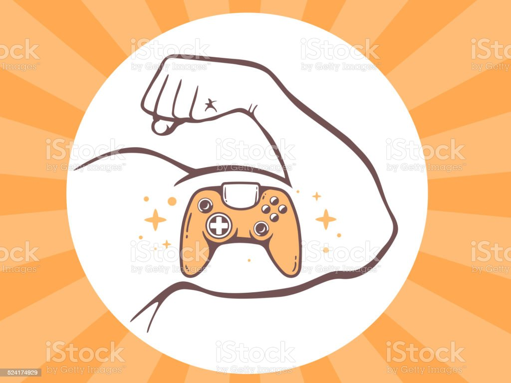 Vector illustration of strong man hand with  icon of joystick vector art illustration