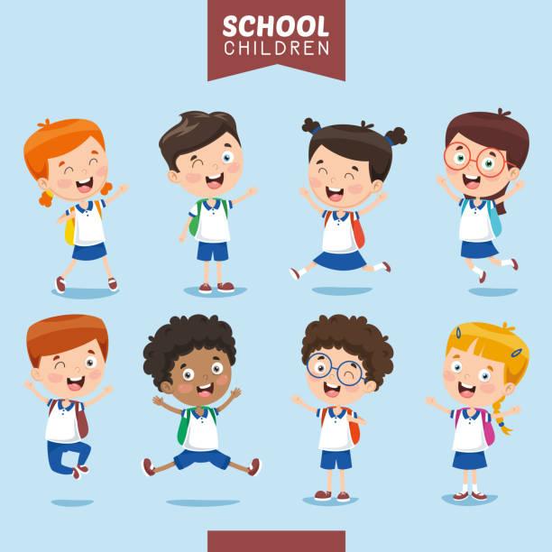 illustrations, cliparts, dessins animés et icônes de vector illustration of student kids - école primaire