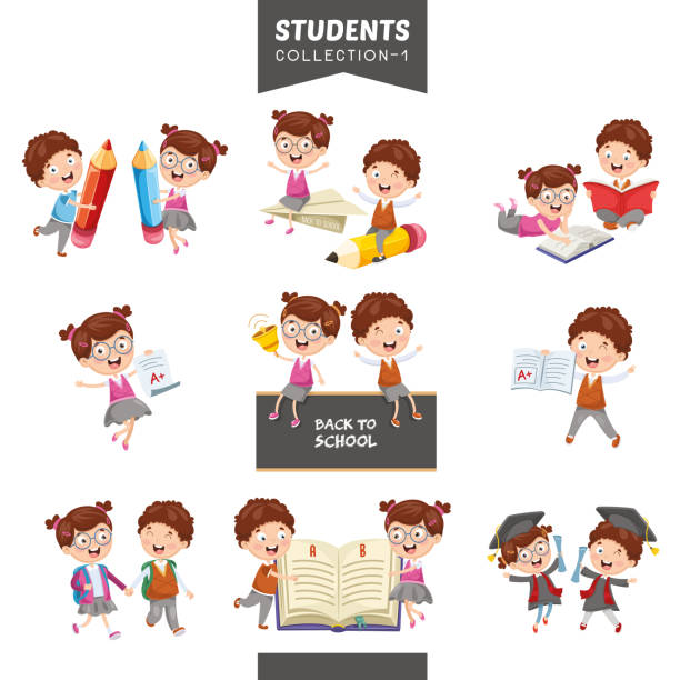 vector illustration of students collection - alphabet clipart stock illustrations
