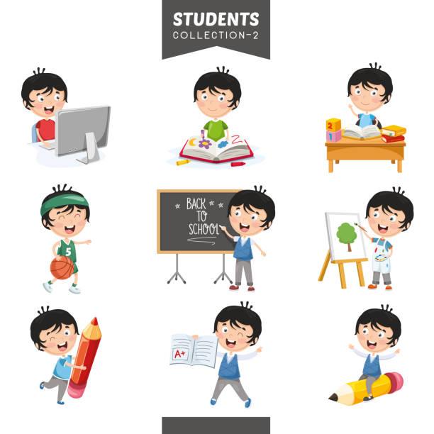 ilustrações, clipart, desenhos animados e ícones de ilustração em vetor de coleção de alunos - aula de redação