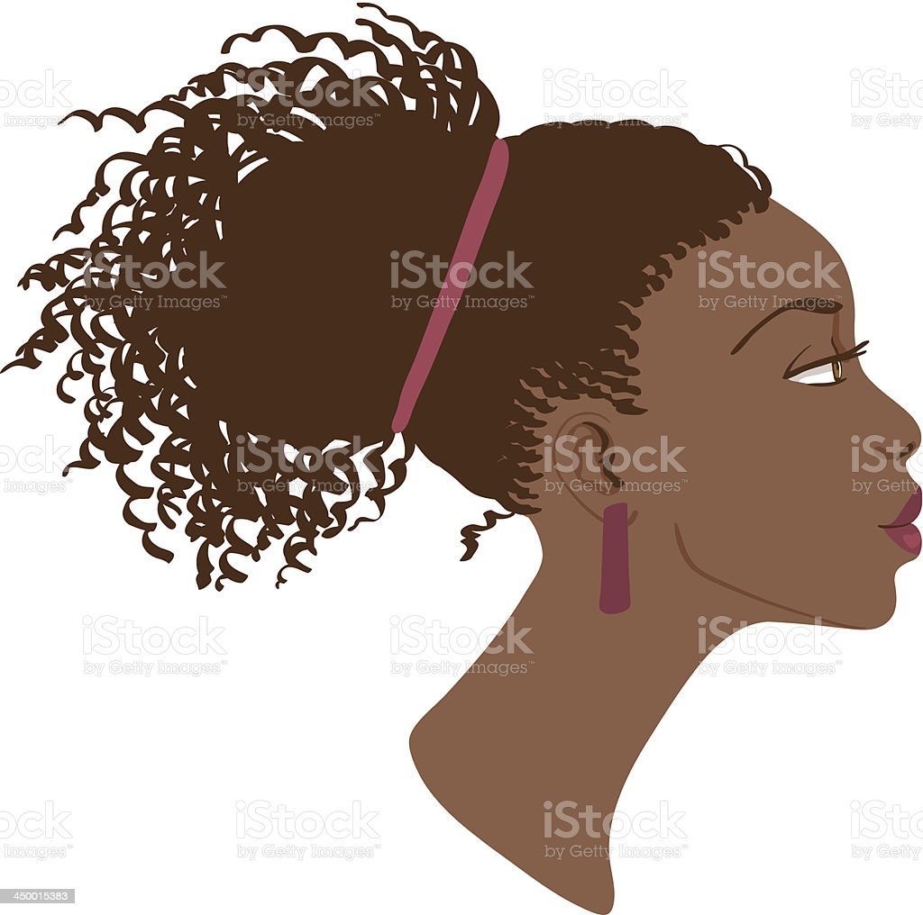 Vector illustration of stylish African American girl profile vector art illustration