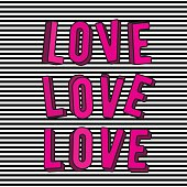 Vector illustration of stylish love 3d pink text sign isolated on striped background in the retro style