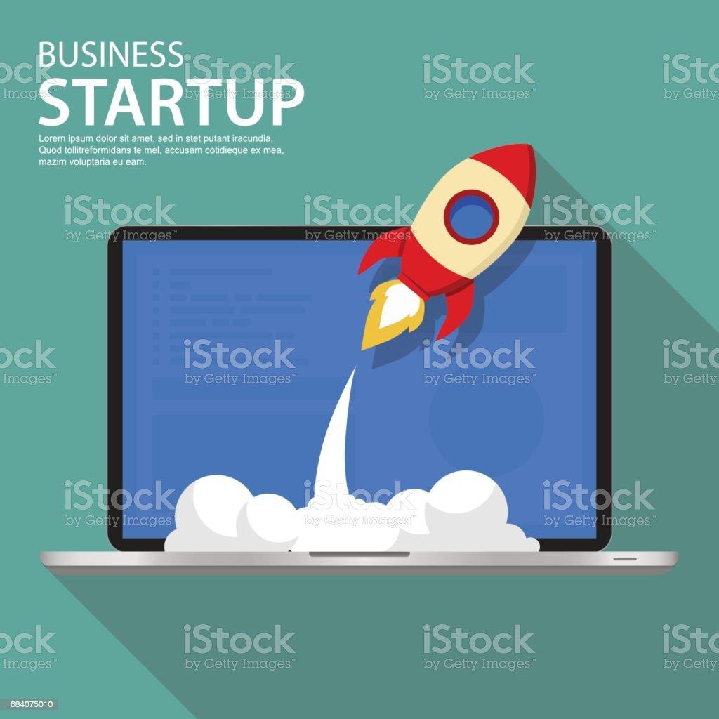 Vector illustration of successful startup business. vector art illustration