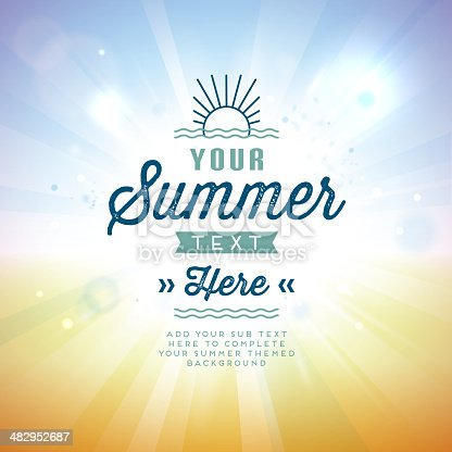 A summer themed background with text.  The image is orange on the bottom and blue on top with a celebratory font in dark blue and teal.  There is a large lens flare in the center of the image that brings attention to the text.  On the top of the image is a stylized sun rising over two squiggly lines that resemble ocean waves.  The same ocean waves lines are featured on the bottom of the image just above the sub text section.  The text is fully editable and uses transparencies.