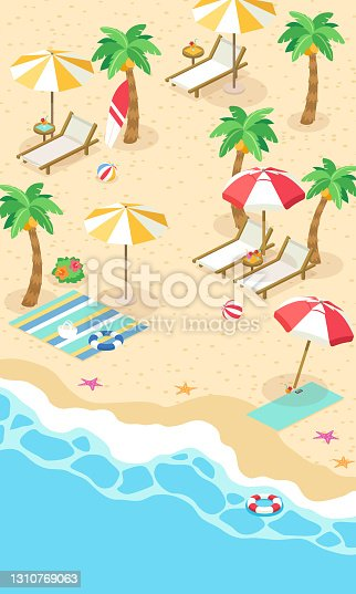 istock Vector illustration of summer sea and beach vertical (isometric) 1310769063