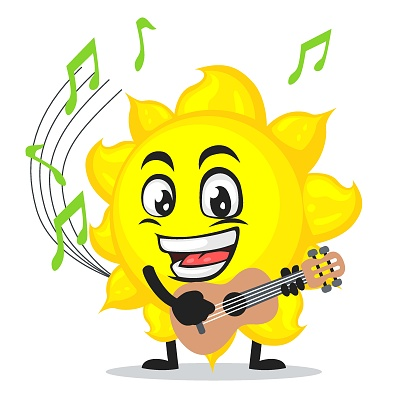 vector illustration of sun mascot or character