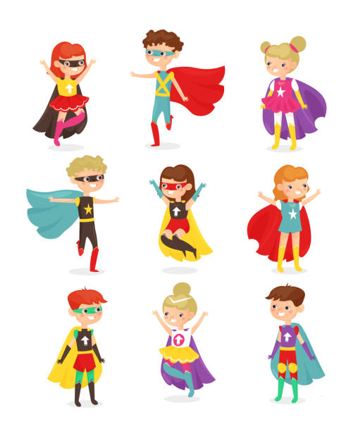 ilustrações de stock, clip art, desenhos animados e ícones de vector illustration of super hero children. kids in superhero costumes, super powers, kids dressed in masks. collection of happy smiling kids characters isolated on white background in flat cartoon style. - super baby