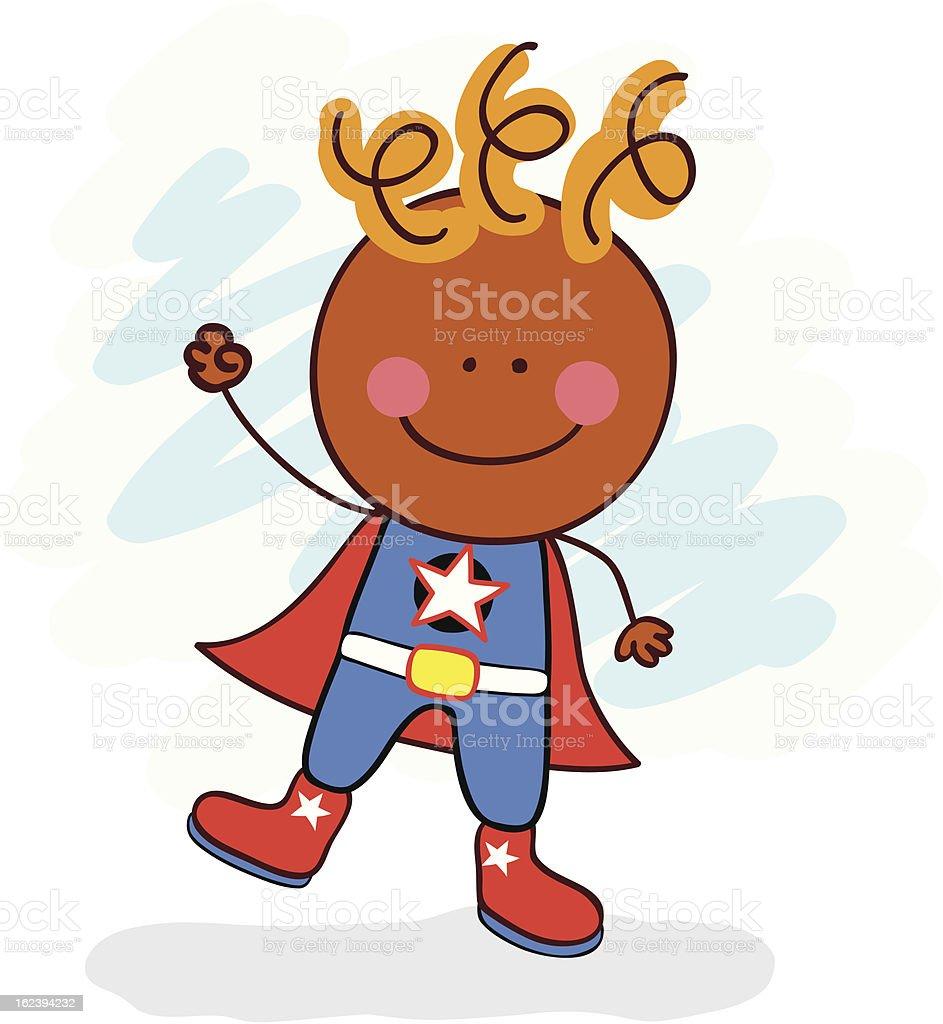 vector illustration of superhero costumed black kid posing royalty-free stock vector art