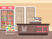 Vector illustration of supermarket interior with counter and fridges with drinks, shelfs and stands with products and goods. Empty supermarket, lines with merchandise. mall interior, grocery store concept in flat cartoon style