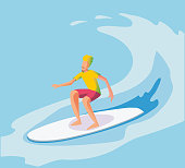 Vector illustration of surfer riding the wave. flat illustration
