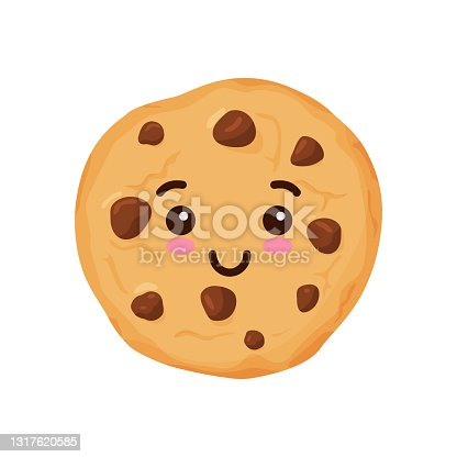 istock Vector illustration of sweet cookies with chocolate pieces. Illustration for the site, menu and other things. 1317620585