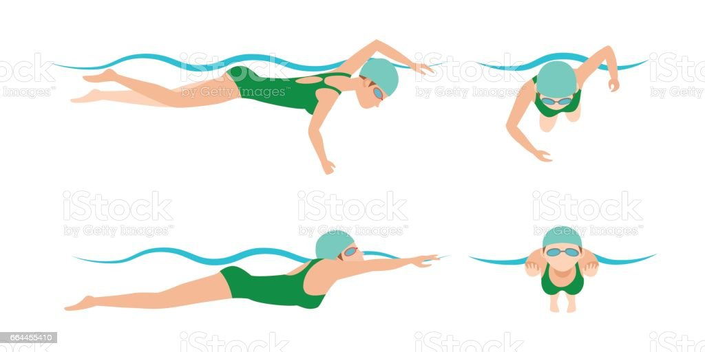 Vector illustration of swimming style scheme different swimmers man and woman in pool sport exercise vector art illustration