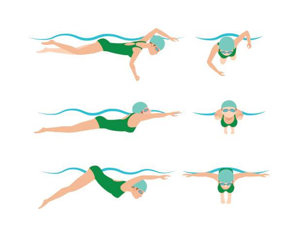 vektor-illustration stil schema verschiedene schwimmer mann und frau im schwimmbad sport übung schwimmen - schwimmpflanzen stock-grafiken, -clipart, -cartoons und -symbole