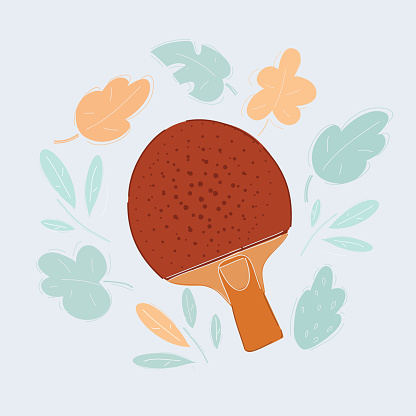 Vector illustration of Table ping pong tennis racket on a white background.